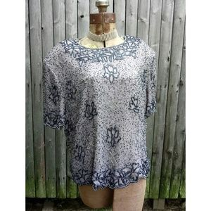 Vintage scalloped gray & silver glass beaded shirt